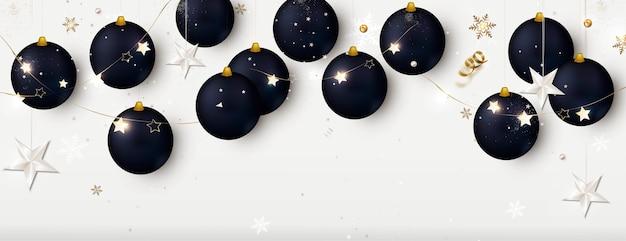Neujahrsfahne mit schwarzen weihnachtskugeln