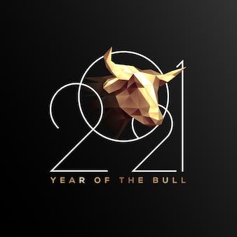 Neujahrsfahne oder plakatentwurfsschablone mit neujahrszahlen mit goldenem stierkopf auf schwarzem hintergrund jahr des stiers