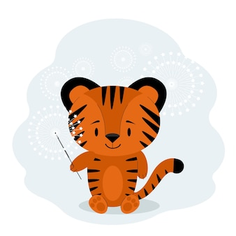 Neujahrsfeierkarte 2022 mit tiger und wunderkerze