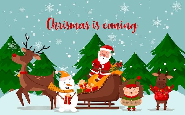 Neujahrsfiguren. weihnachtsmann in einem schlitten und einem hirsch, stier, igel, schneemann.