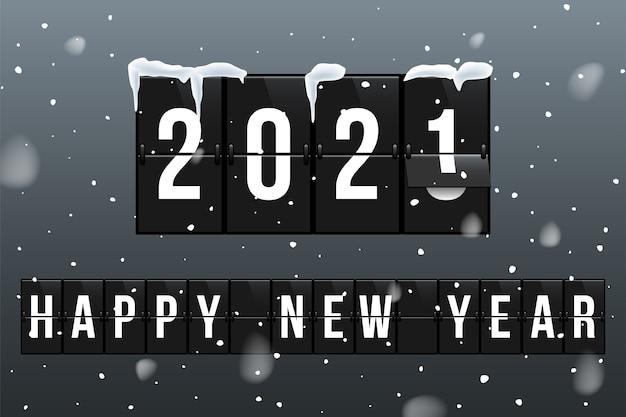 Neujahrsgrußkarte, die jahre in der realistischen illustration des flipboard-kalenders ändert.
