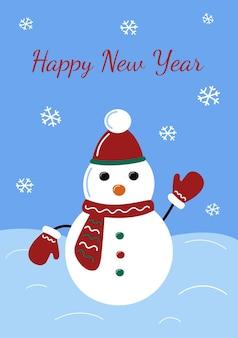 Neujahrsgrußkarte netter schneemann in handschuhen und mütze schneeflocken fallen winterferien