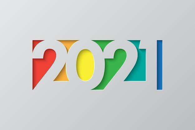 Neujahrshintergrund im geschnittenen papierstil. festliche premium-vorlage für grußkarte