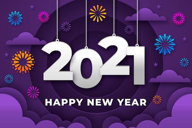 Neujahrshintergrund im papierstil