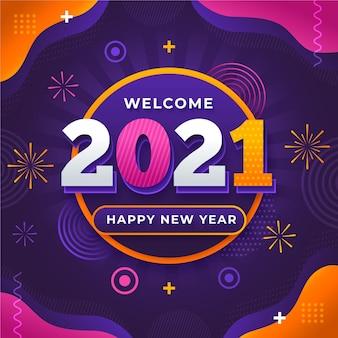Neujahrshintergrund mit abstrakten elementen