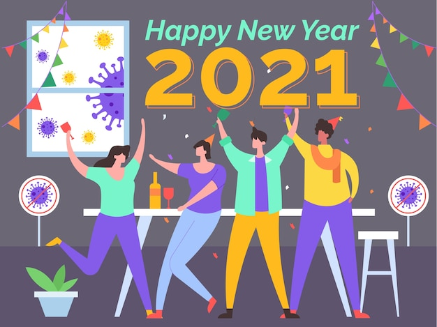 Neujahrsillustration ohne koronavirus