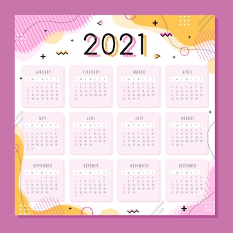 Neujahrskalender 2021 in flachem design