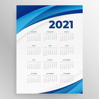 Neujahrskalender des geschäftsstils mit blauer welle