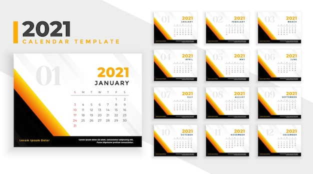 Neujahrskalender designvorlage