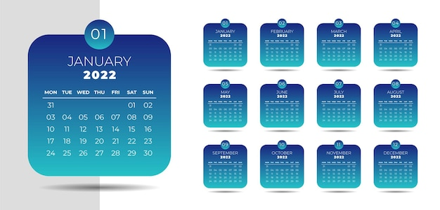 Neujahrskalender im business-stil