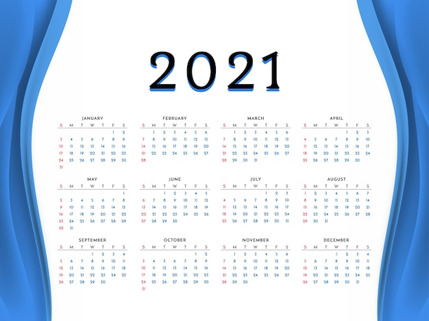 Neujahrskalenderentwurf des blauen wellenstils 2021