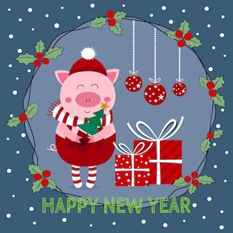 Neujahrskarte elf ferkel schwein und mistelkranz