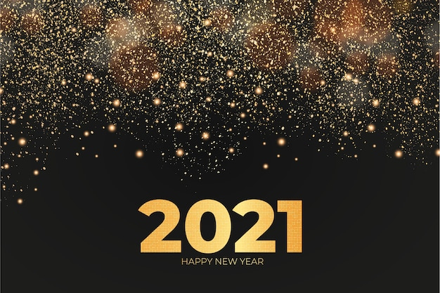 Neujahrskarte mit goldenem effekthintergrund Kostenlosen Vektoren