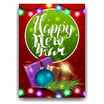 Neujahrskarte mit moderner beschriftung
