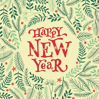 Neujahrskarte mit zitat und floralen elementen
