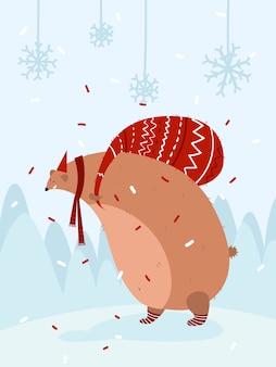 Neujahrskarte. weihnachtspostkarte. flacher cartoon-stil. bär mit einer tasche mit geschenken auf seinem rücken