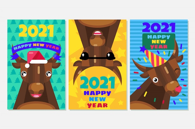 Neujahrskarten mit stieren gesetzt. chinesisches 2021 zeichen