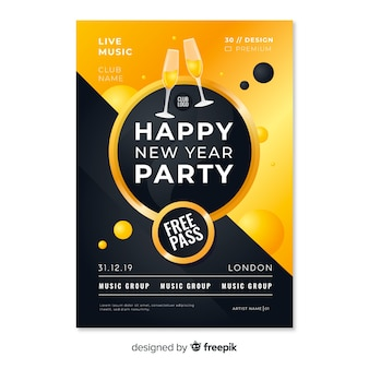 Neujahrsparty poster mit freikarte und champagner