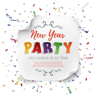 Neujahrspartyplakatschablone mit bändern und konfetti lokalisiert auf weißem hintergrund. weißes, gebogenes papierbanner.
