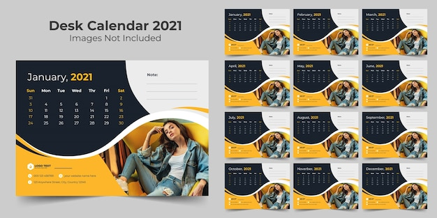 Neujahrsschreibtischkalender-entwurfsvorlage 2021