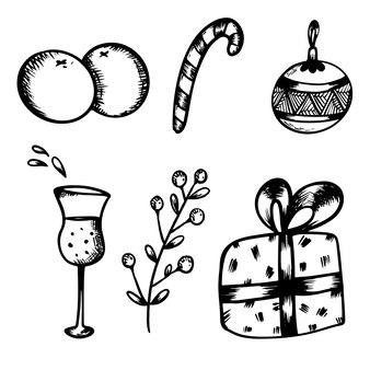Neujahrsset von isolaten in der hand zeichnen stil weihnachtsbaum kalender kerze geschenk champagner spielzeug