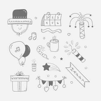 Neujahrssymbol im doodle-stil