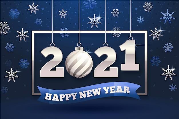 Neujahrstapete mit silbernen elementen