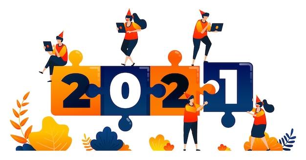 Neujahrsthema der puzzlespielführung und des teamwork-konzepts