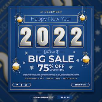 Neujahrsverkaufs-promo-flyer oder instagram-post-vorlage