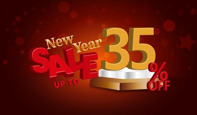 Neujahrsverkaufsangebot 3d-text mit 35 prozent rabatt