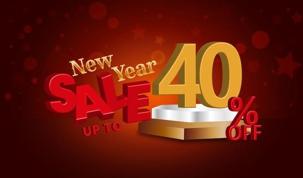 Neujahrsverkaufsangebot 3d-text mit 40 prozent rabatt
