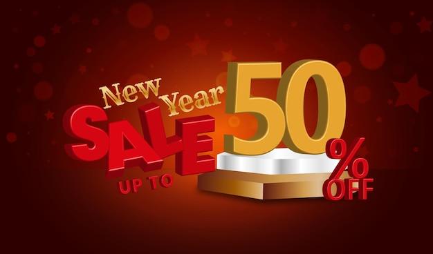 Neujahrsverkaufsangebot 3d-text mit 50 prozent rabatt