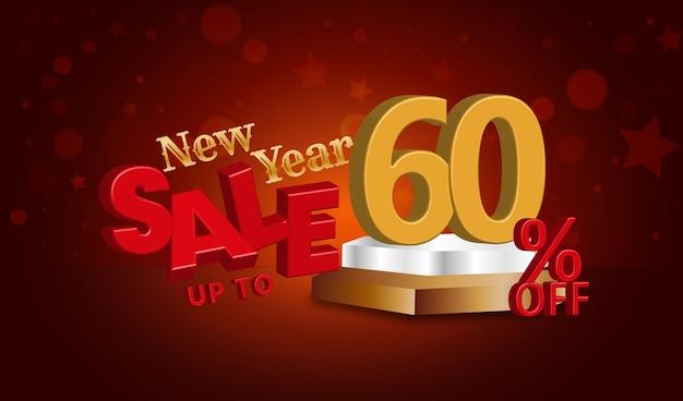 Neujahrsverkaufsangebot 3d-text mit 60 prozent rabatt