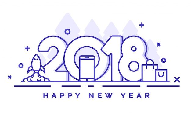 Neujahrsverkaufsfahne mit blauer linie kunsttext 2018