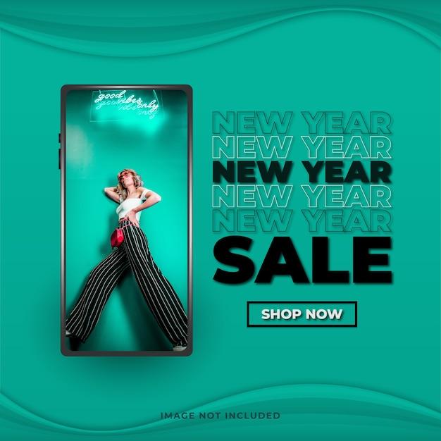 Neujahrsverkaufsförderungsfahne oder -plakat mit smartphone-schablone auf grünem hintergrund