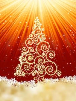 Neujahrsvorlage mit sternen, schneeflocken und weihnachtsbaum. datei enthalten