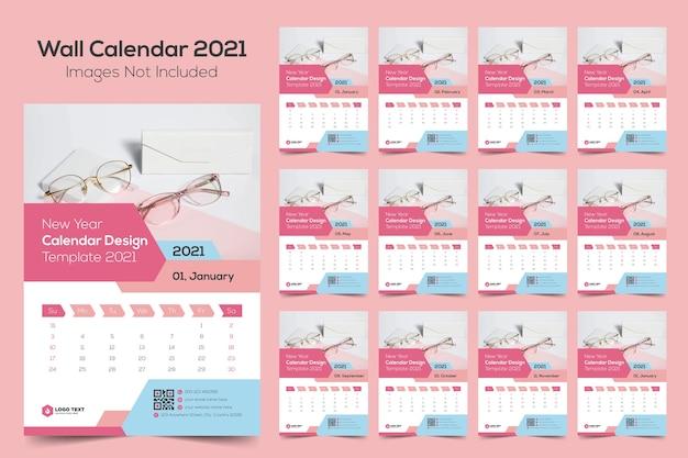 Neujahrswandkalender-entwurfsvorlage 2021