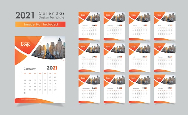 Neujahrswandkalender-entwurfsvorlage