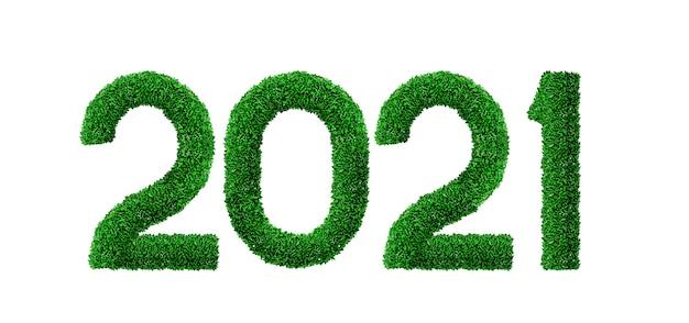 Neujahrszahlen aus grünem gras und blättern. neujahr. ökologie und natur