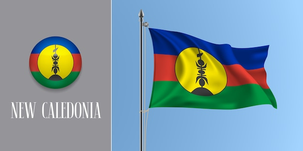 Neukaledonien winkende flagge auf fahnenmast und runder symbolillustration