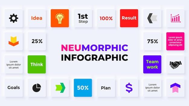 Neumorphe vektor-infografik präsentationsfolie vorlage datenvisualisierung geschäftsstruktur