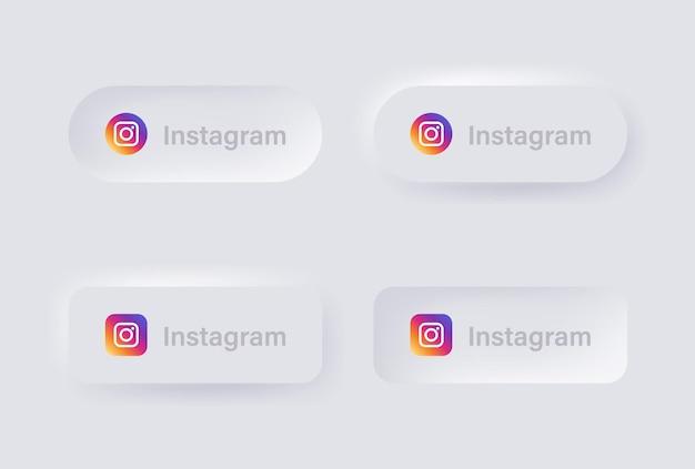 Neumorphes instagram-logo-symbol für beliebte social-media-symbole logos in neumorphismus-buttons ui ux