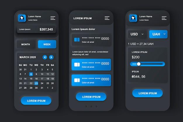 Neumorphisches design-kit für das persönliche finanzmanagement.