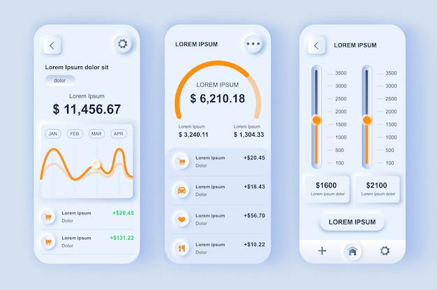 Neumorphisches design-kit für smart finance manager.