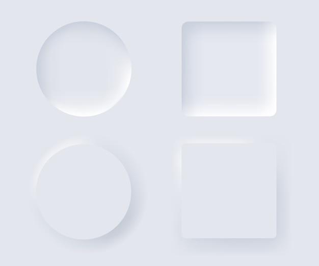 Neumorphism design-element-set. trendige oberfläche für anwendungen.