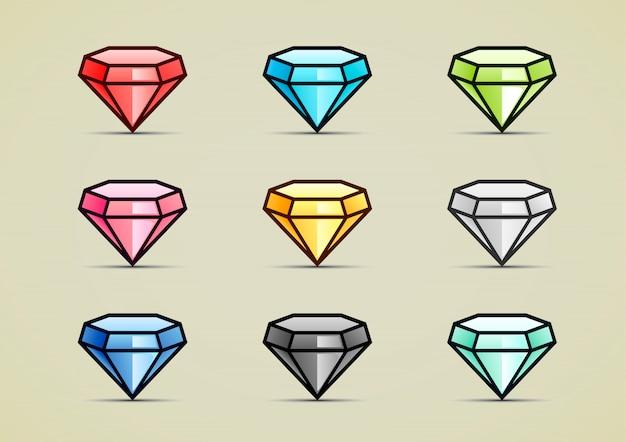 Neun bunte diamanten