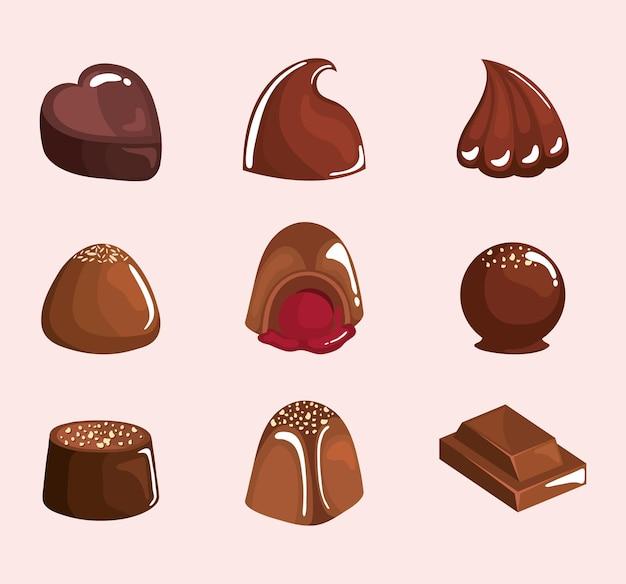 Neun clipart für schokoladenprodukte