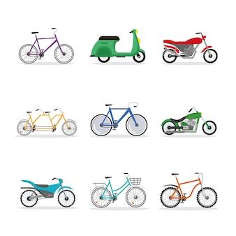 Neun fahrräder und motorräder fahrzeuge