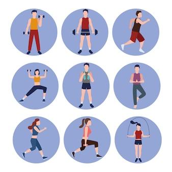 Neun fitness-personen