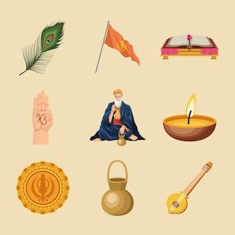 Neun guru nanak jayanti icons